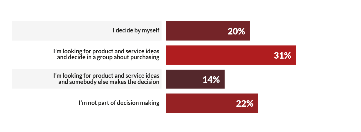 Chart of visitors' decision making roles